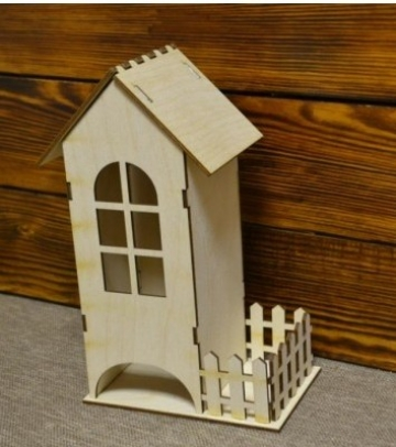 Чайный домик сборный с забором 24х9х9см