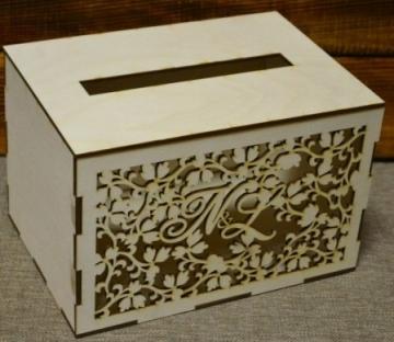 Короб для денежных подарков с инициалами 25х18х16см
