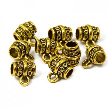 Бейл трубка   8х10х7 мм, цв.античное золото (3шт.)