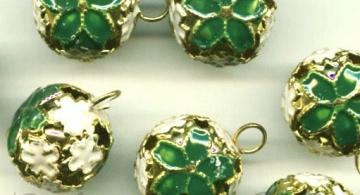 Бубенчики резные 12 мм зеленый (3 шт.)