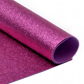 Фоамиран глиттерный 2мм 20х30см ярко-розовый