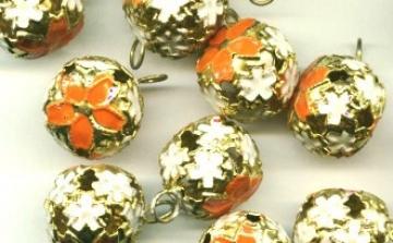 Бубенчики резные 12 мм оранжевые (3 шт.)