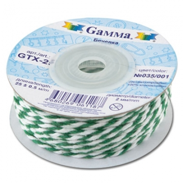 Бечевка GTX-25 100% хлопок 2мм 035/001 зеленый-белый (2м)