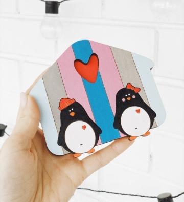"""Ключница настенная деревянная """"Семья пингвинов"""" 12х10см с покраской и фурнитурой"""
