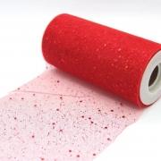Фатин с пайетками  ширина 15см (2метра) красный