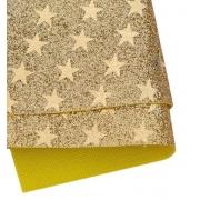 Кожа искусственная 20х30 см Глиттер звёздочки, золото (1 лист)