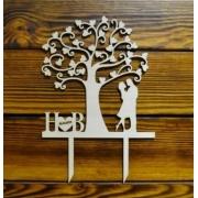 """Топпер """"Дерево с парой и инициалами"""" 17х25см"""