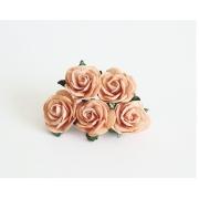 Розы из бумаги 2 см (5 шт.) персиковые