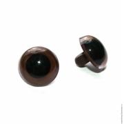 Глаза пластик 9мм пришивные (пара) светло-коричневые
