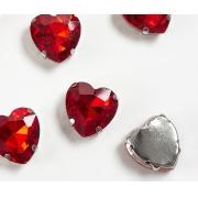 Стразы  в цапах стекло 16 мм Сердечко  (2 шт) красный 17