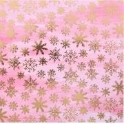 """Бумага крафт с фольгированием """"Танец снежинок"""" 15.5х15.5см роз"""