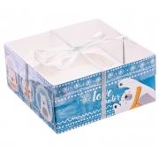 """Коробка для 4 капкейков """"Люблю зиму"""" 16х16х7.5см (1шт.)"""