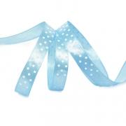 Лента атласная 15мм горошек (1метр) голубой