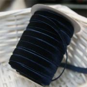 Лента бархатная 10 мм темно-темно-синий №180 (1 метр)