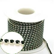 Стразовая лента (цепь) SS8 темно-зеленая в серебристой оправе (1метр)