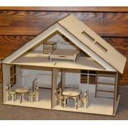 Кукольный дом с мебелью 40х20х30см