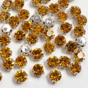 Стразы в цапах Круг (30 шт.) золото