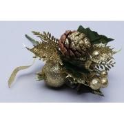 Бутоньерка Новогодняя 19см  пуансетия золотая