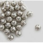 Бусины ажурные 10 мм (10 шт.) под серебро