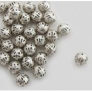Бусины ажурные 6 мм (10 шт.) под серебро