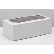 Коробка самосборная с окном, белая, 16х35х12 см