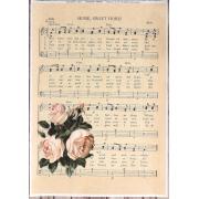 """Декупажная карта """"Розы на нотном листе"""", бумага, формат А4"""