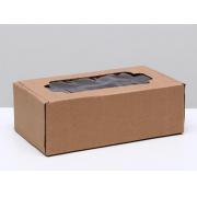 Коробка крафт самосборная с окном, 23х12×8 см