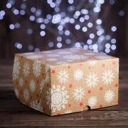 """Упаковка для капкейков, без окна, на 4 шт., """"Снежинки"""", 16 х 16 х 10 см"""