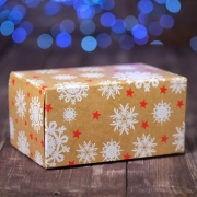 """Коробка картонная на 2 капкейка """"Снежинки"""", 16 х 10 х 8 см"""