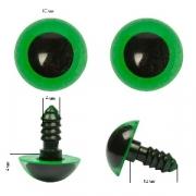 Глазки пластик 10 мм винтовые зеленые (пара)