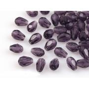 Бусины стекло капли граненые 8х12 мм (5 шт.) фиолетовые