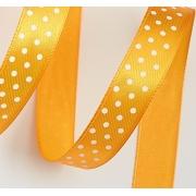 Лента атласная в горошек 1,5 см  (2метра) оранжевый 17