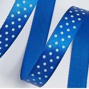 Лента атласная в горошек 1,5 см  (2метра) синий 40
