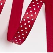 Лента атласная в горошек 1,5 см  (2метра) бордовый 33