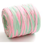 Рафия синтетическая 3 м Розово-салатовая