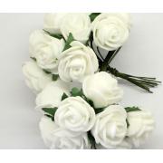 Розы из фоамирана 2 см (12 шт) белые
