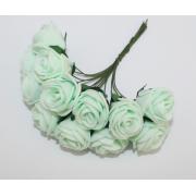 Розы из фоамирана 2 см (12 шт) мятные