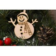 """Новогоднее украшение """"Снеговик в шарфе"""" 10 см"""