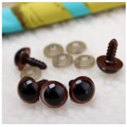 Глазки пластик 10 мм винтовые коричневые (пара)