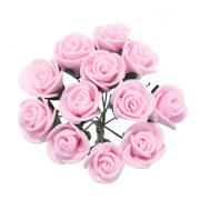 Розы из фоамирана 2 см (12 шт) ярко-розовые