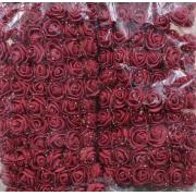 Розы из фоамирана с вуалеткой 2 см (12 шт) бордовые