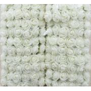 Розы из фоамирана с вуалеткой 2 см (12 шт) белые