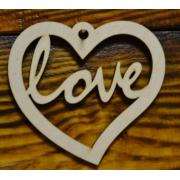 """Декоративный элемент """"Love в сердце"""" (выс.10см)"""