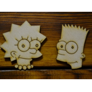 """Заготовка для значка """"Барт и Лиза Симпсон"""" 5см"""