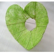Каркас для букета (сизаль), салатовый сердце 15см