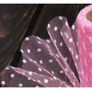 Фатин в горошек ширина 15см (2метра) розовый