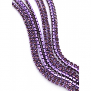 Стразовая лента (цепь) SS8 фиолетовая металл под цвет (1метр)