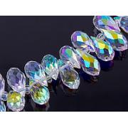 Чешское стекло капельки 5х12 мм Прозрачные с переливом (5 шт.)