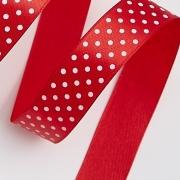 Лента атласная в горошек 2 см  (1 метр) красный 162