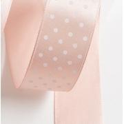 Лента атласная в горошек 2,5см  (1м) дымчато-розовый 041